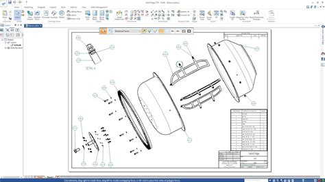 SOLID EDGE ST9 - DRUM ASSEMBLY - DRAWING - CONCRETE MIXER