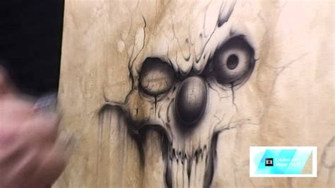 Airbrush Outpost-Wicked Skull on Canvas with PPG Paint and